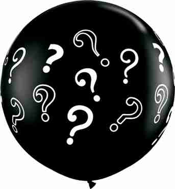 Question Marks Fashion Onyx Black Latex Round 36in/90cm