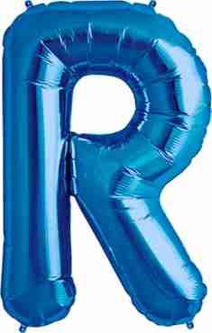 R Blue Foil Letter 16in/40cm