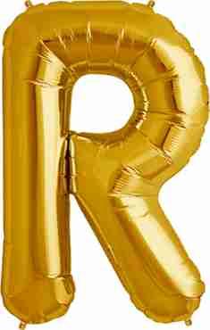 R Gold Foil Letter 16in/40cm