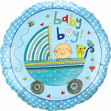 Rachel Ellen - Baby Boy Stroller Foil Round 9in/22.5cm