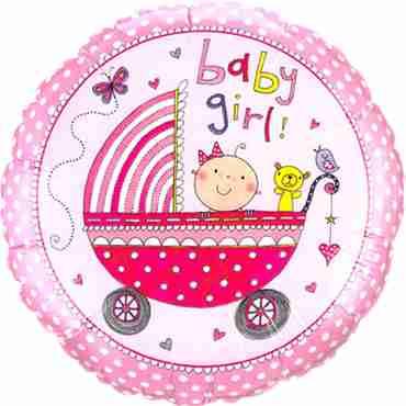 rachel ellen - baby girl stroller foil round 9in/22.5cm