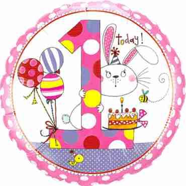 Rachel Ellen – Age 1 Bunny Polka Dots Foil Round 18in/45cm