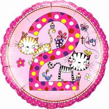 Rachel Ellen – Age 2 Kittens Polka Dots Foil Round 18in/45cm