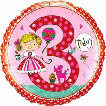 Rachel Ellen – Age 3 Princess Polka Dots Foil Round 18in/45cm