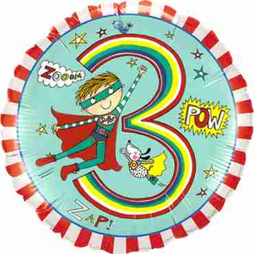 Rachel Ellen – Age 3 Super Hero Stripes Foil Round 18in/45cm