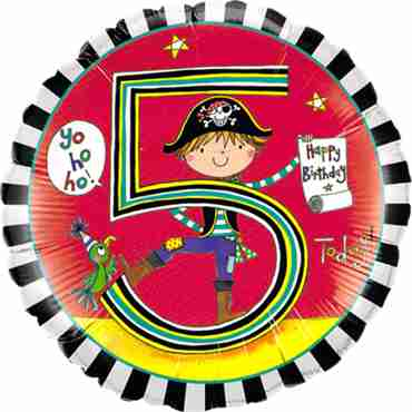 Rachel Ellen – Age 5 Pirate Stripes Foil Round 18in/45cm