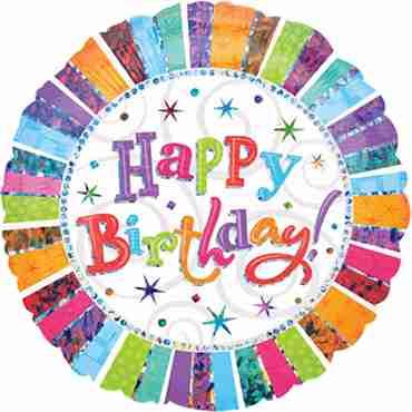 Radiant Birthday Happy Birthday Foil Round 18in/45cm