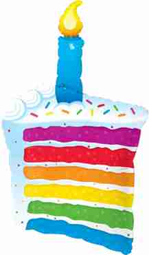 Rainbow Cake and Candle Foil Shape 42in/107cm