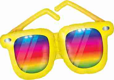 Rainbow Striped Sunglasses Foil Shape 42in/107cm