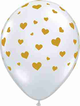 Random Hearts Crystal Diamond Clear (Transparent) Latex Round 11in/27.5cm