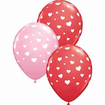 Random Hearts Standard Red and Standard Pink Assortment Latex Round 11in/27.5cm