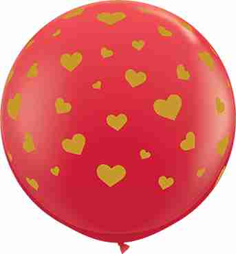 Random Hearts Standard Red Latex Round 36in/90cm