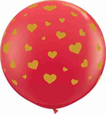 Random Hearts Standard Red Latex Round 36in/90cm