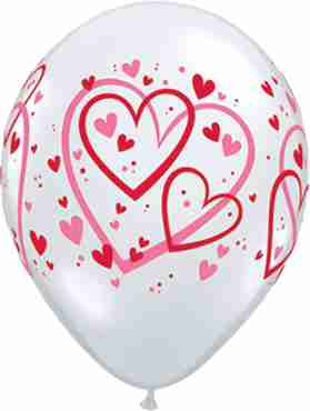 Red and Pink Pattern Hearts Crystal Diamond Clear (Transparent) Latex Round 11in/27.5cm