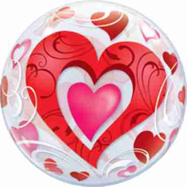 Red Hearts and Filigree Single Bubble 22in/55cm