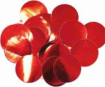 Red Metallic Round Foil Confetti 25mm 14g
