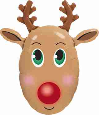Red Nosed Reindeer Foil Shape 36in/90cm