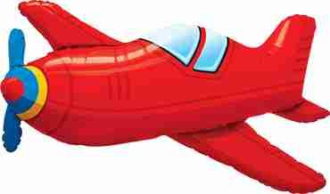 Red Vintage Airplane Foil Shape 36in/90cm