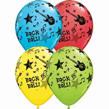 Rock and Roll Stars Standard Red, Standard Yellow, Fashion Robins Egg Blue and Fashion Lime Green Assortment Latex Round 11in/27.5cm