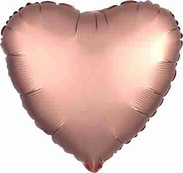 Rose Copper Satin Luxe Foil Heart 17in/43cm