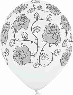 Roses Pastel White Latex Round 12in/30cm