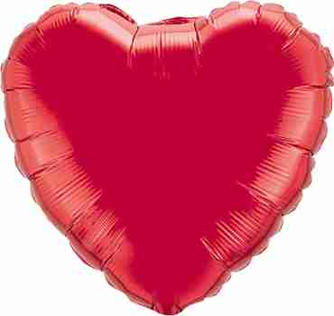 Ruby Red Foil Heart 4in/10cm