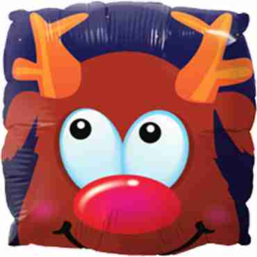 Rudolph Fun Face Foil Square 9in/22.5cm