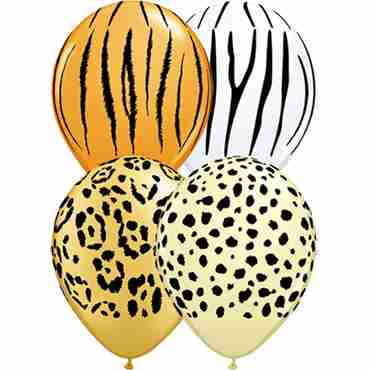 Safari Assortment Leopard Spots, Zebra Stripes, Tiger Stripes and Cheetah Spots Assortment Latex Round 11in/27.5cm