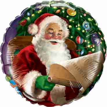 Santa's Christmas List Foil Round 18in/45cm