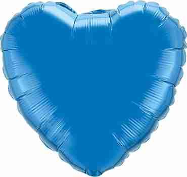 Sapphire Blue Foil Heart 4in/10cm