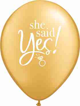 She Said Yes! Metallic Gold Latex Round 11in/27.5cm