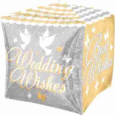 Shimmering Wedding Wishes Cubez 15in/38cm x 15in/38cm