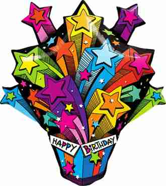shooting stars birthday present foil shape 35in/87.5cm