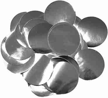Silver Metallic Round Foil Confetti 25mm 14g