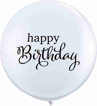 Simply Happy Birthday Standard White Latex Round 36in/90cm