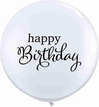 Simply Happy Birthday Standard White Latex Round 36in/90cm