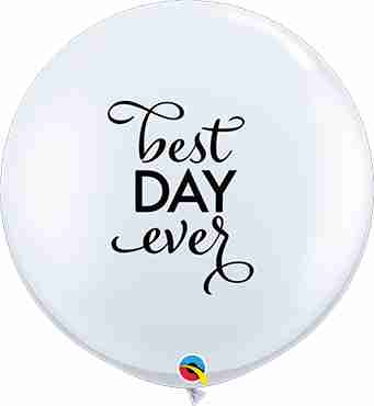 Simply The Best Day Ever Standard White Latex Round 36in/90cm
