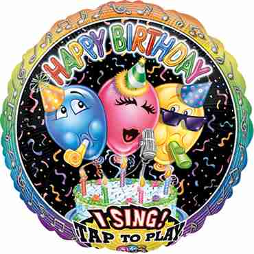 Singing Balloon Birthday Sing A Tune Foil Round 28in/71cm