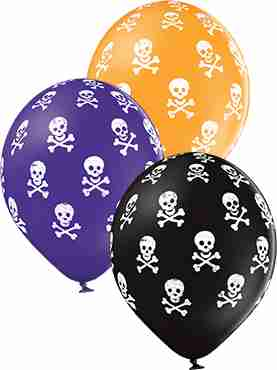 Skulls Pastel Black, Pastel Orange and Pastel Royal Lilac Assortment Latex Round 12in/30cm