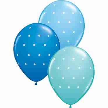 Small Polka Dots Standard Dark Blue, Standard Pale Blue and Fashion Caribbean Blue Assortment Latex Round 11in/27.5cm