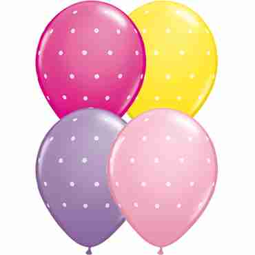 Small Polka Dots Standard Yellow, Standard Pink, Fashion Wild Berry and Fashion Spring Lilac Assortment Latex Round 11in/27.5cm