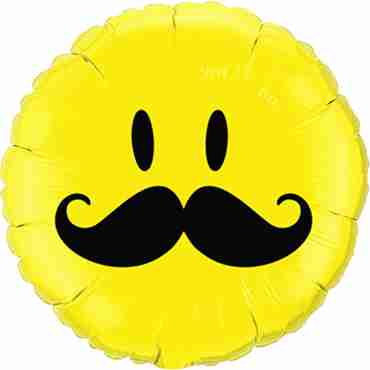 Smile Face Mustache Foil Round 18in/45cm