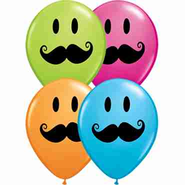 Smile Face Mustache Standard Orange, Fashion Robins Egg Blue, Fashion Wild Berry and Fashion Lime Green Assortment Latex Round 5in/12.5cm
