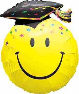 smile face party grad foil shape 14in/35cm