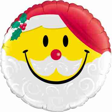 Smile Face Santa Foil Round 18in/45cm