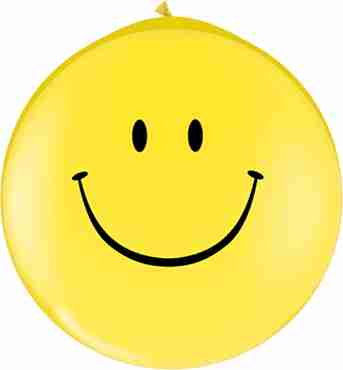 Smile Face Standard Yellow Neck Up Latex Round 36in/90cm