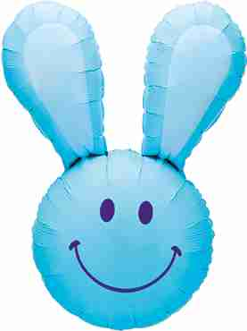 Smiley Bunny Blue Foil Shape 37in/94cm
