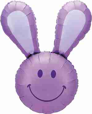 Smiley Bunny Lavender Foil Shape 37in/94cm