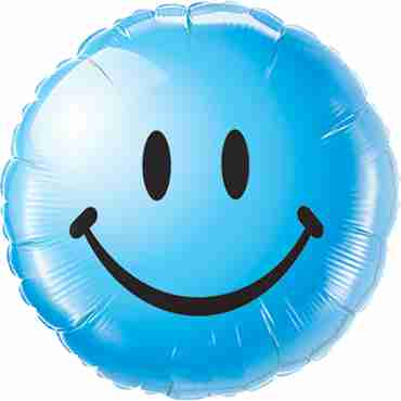 Smiley Face Blue Foil Round 18in/45cm