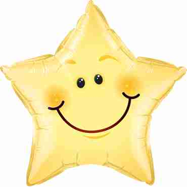 Smiley Face Foil Star 20in/50cm